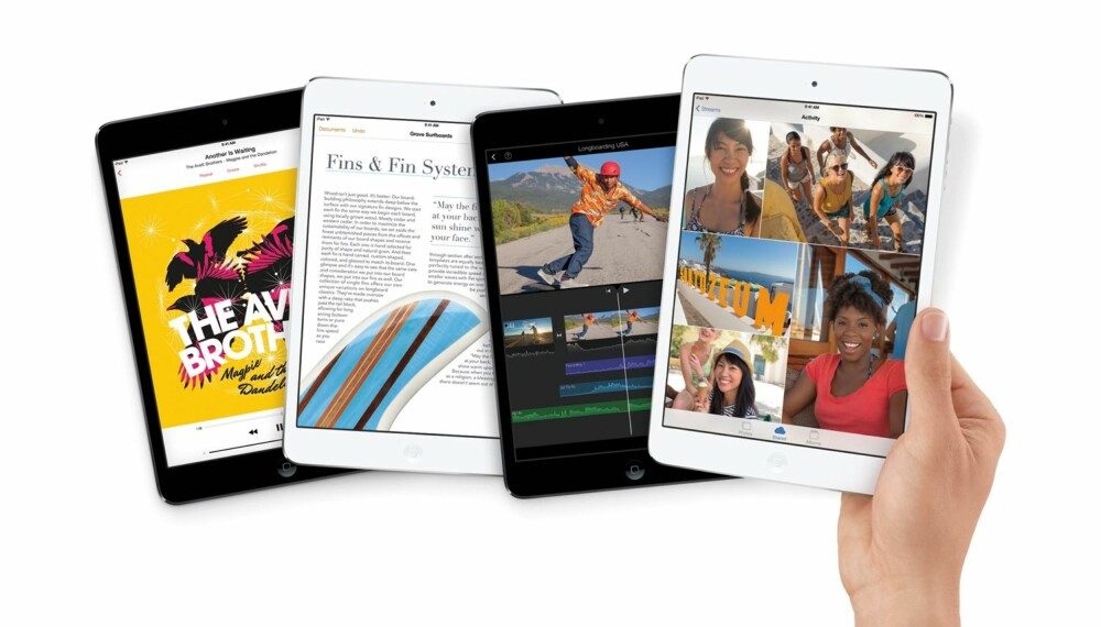 HENDIG: Takket være liten størrelse og lav vekt, ligger nye iPad Mini vedlig godt i hånda. Retina-skjermen er sylskarp, og ytelsen imponerende.