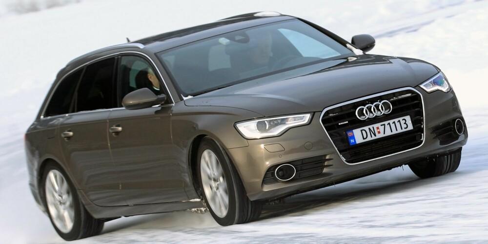 HELLER INGEN BAMBI: Audi A6 på glattisen.