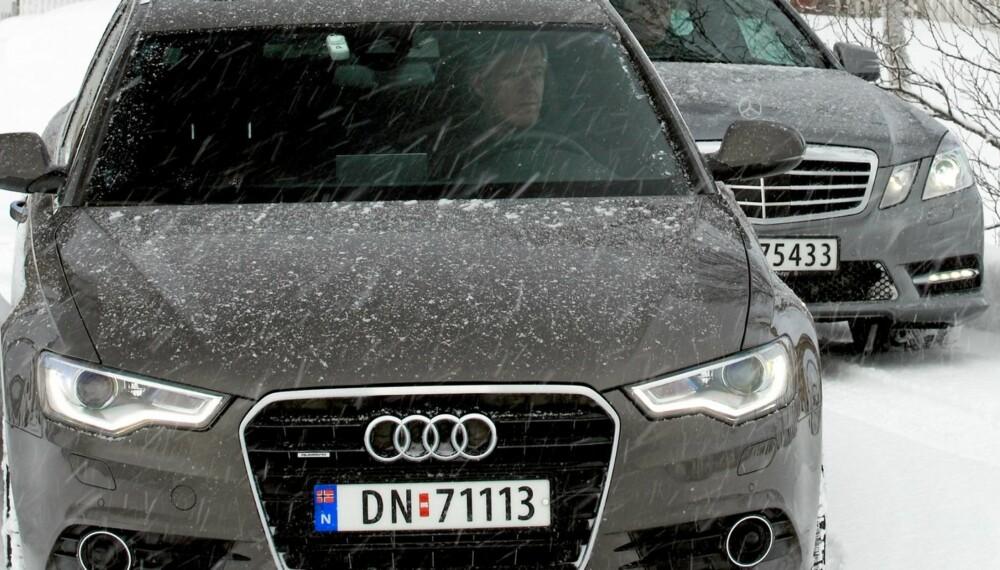 Test: Audi A6 3,0 TDI quattro S tronic Avant (204 hk) mot Mercedes-Benz E 250 CDI 4Matic 7G-Tronic Plus (204 hk). Foto: Egil Nordlien, HM Foto