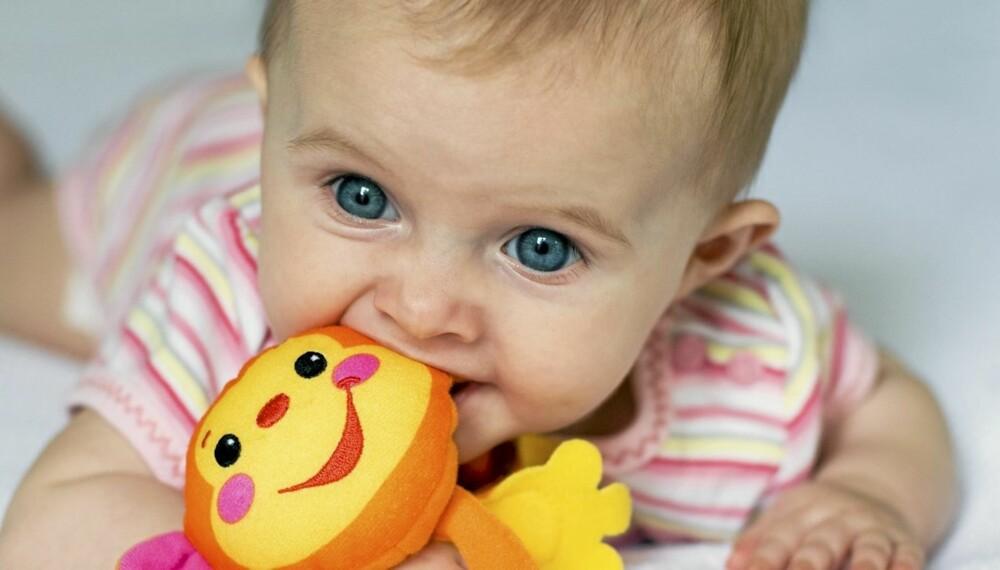 BABY 4 MÅNEDER: Når babyen er 4 måneder har den begynt å ligge på magen. Nysgjerrighet er en fin stimulator for å få barnet til å trene på å snu seg rundt.