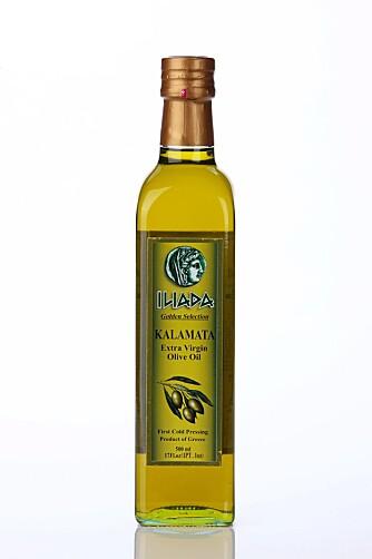 Illiada Golden Selection Kalamata Extra Virgin Olive Oil gikk helt til topps i denne testen sammen med olivenoljen fra Landlord.