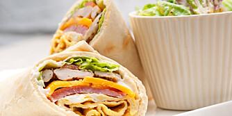 KYLLINGWRAP: Wraps er ofte pakket i en fin tortillalefse som inneholder mye sukker og fint mel. ILLUSTRASJONSFOTO: Colourbox