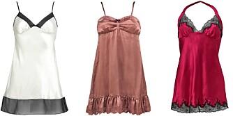 FORFØRERISKE: Fra venstre: Hvit underkjole fra La Senza, kr 390. Gammelrosa fra Odd Molly, kr 850. Rød med svart blondekant fra La Senza, kr 390.