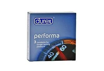 FORLENGET PRESTASJON: Et spesielt glidemiddel på denne kondomen skal forlenge mannens utholdenhet.