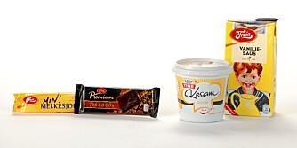 Melkesjokolade: 53 g karbohydrater Premium 70 %: 31 g karbohydrater Vaniljesaus: 15,5 g karbohydrater Kesam Vanilje: 8,6 g karbohydrater