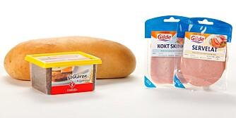 Loff: 46,9 g Fullkorn (pumpernickel): 36 g Servelat: 6 g Kokt skinke: 0 g