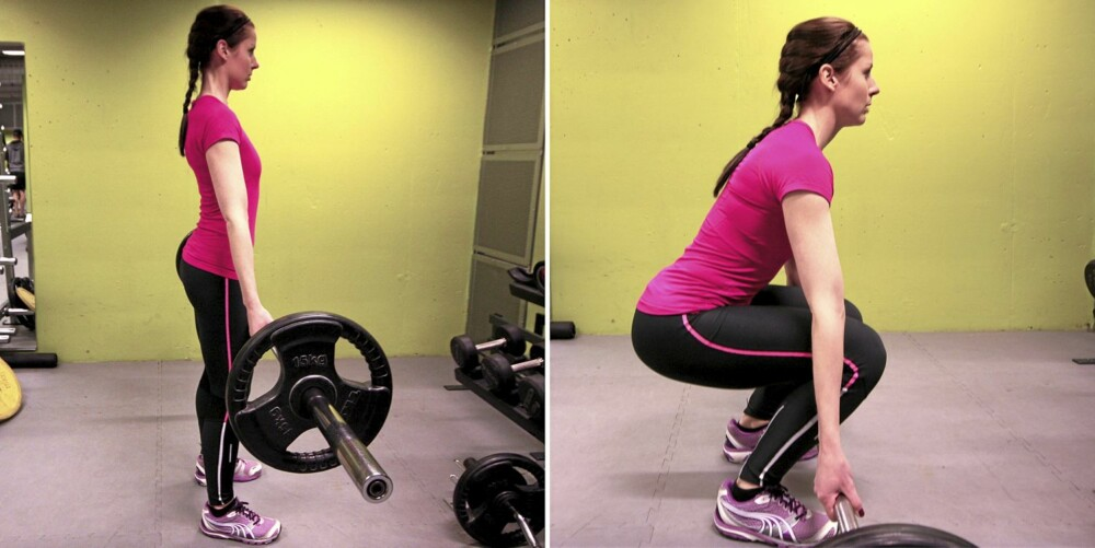 MARKLØFT: Senk rumpa ned mot gulvet mens man beholder en naturlig svai i ryggsøylen.