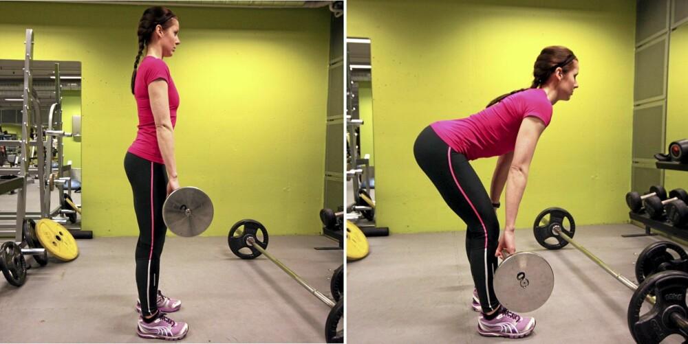 STRAK: Stopp bevegelsen når hamstring og hoftestrekkerne er maksimalt strukket.