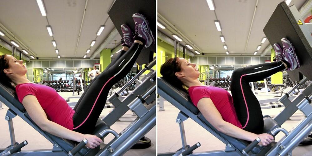 BEINPRESS: Stopp bevegelsen med muskelkraft og press vekten tilbake til startstilling uten å låse kneleddet.