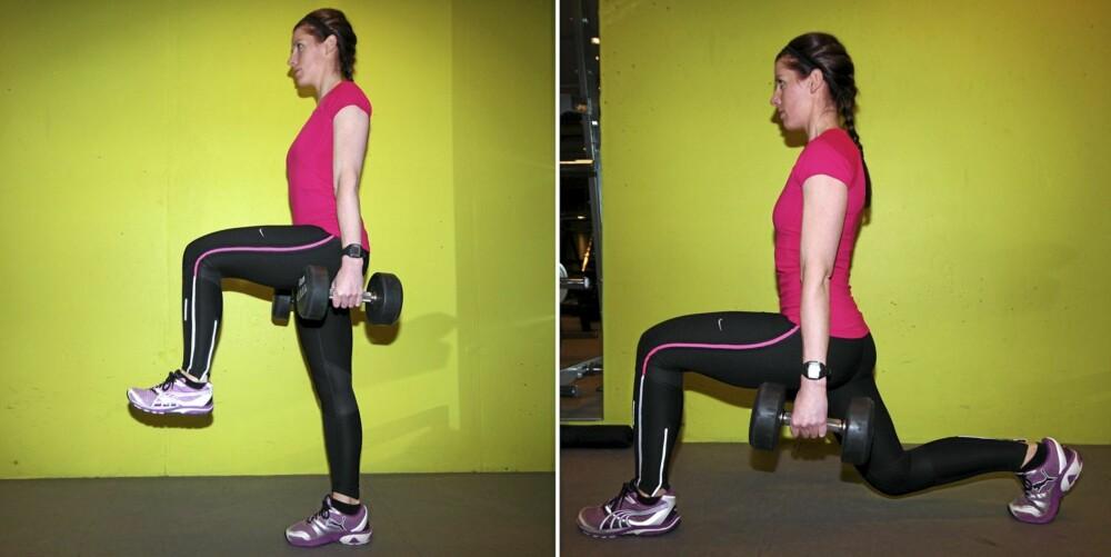 UTFALL: Hold kroppsvekten på fremre bein og strekk ut kne- og hofteledd til man kommer opp til oppreist stilling.