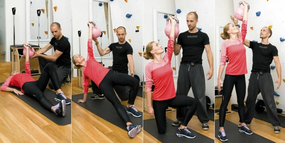 3 - TURKISH GET UP: Trener hele kroppen med særlig fokus på mage og skuldre.