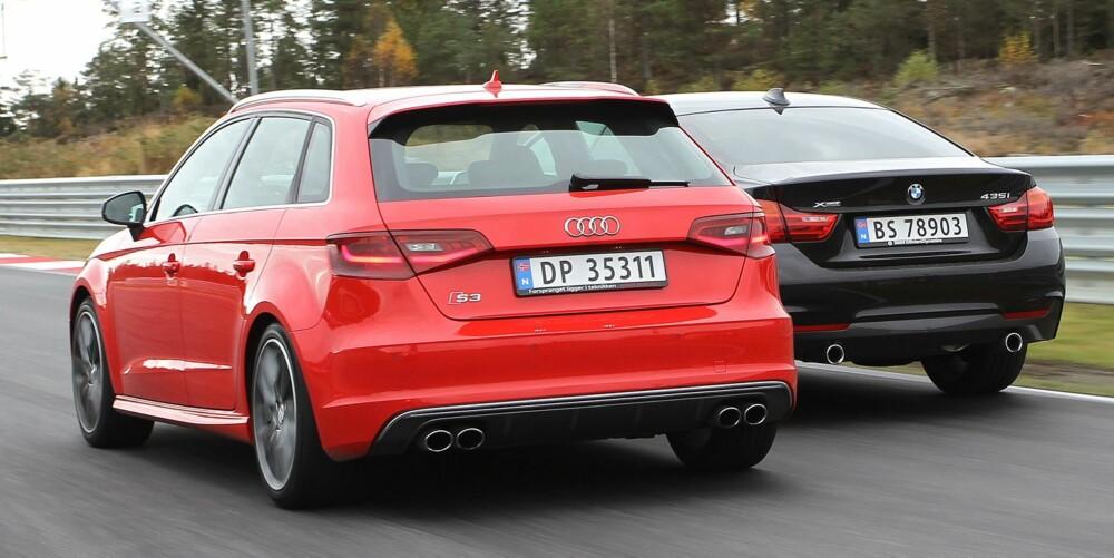 DUELL: Rå kraft møter hissighet. BMW 435i xDrive har fullt dreiemoment på 400 Nm omtrent fra tomgangsturtall, mens toliteren i Audi S3 er direkte sint oppover mot turtellerens røde felt. FOTO: Petter Handeland