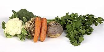 GRØNT: Puré av brokkolli, blomkål, selleri, gulrot og kålrot.
