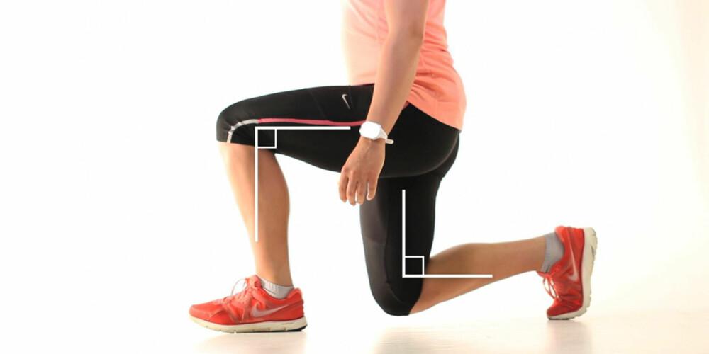 VINKELRETT: Sørg for at du senker deg slik at beina holder 90 graders vinkel. Det fremre kneet skal være rett over forfoten.