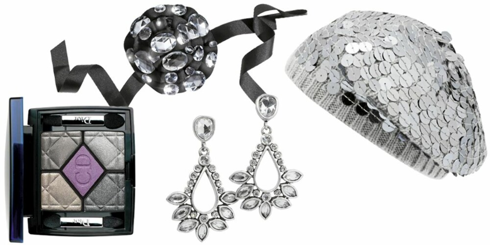 FRA VENSTRE: Dior 5 Couleurs i nr. 089 Smokey Crystal (kr 465), hodepynt fra Sonia Rykiel pour H&M (kr 299), øredobber fra Arts og Craft (kr 398), lue med paljetter fra BikBok (kr 149).