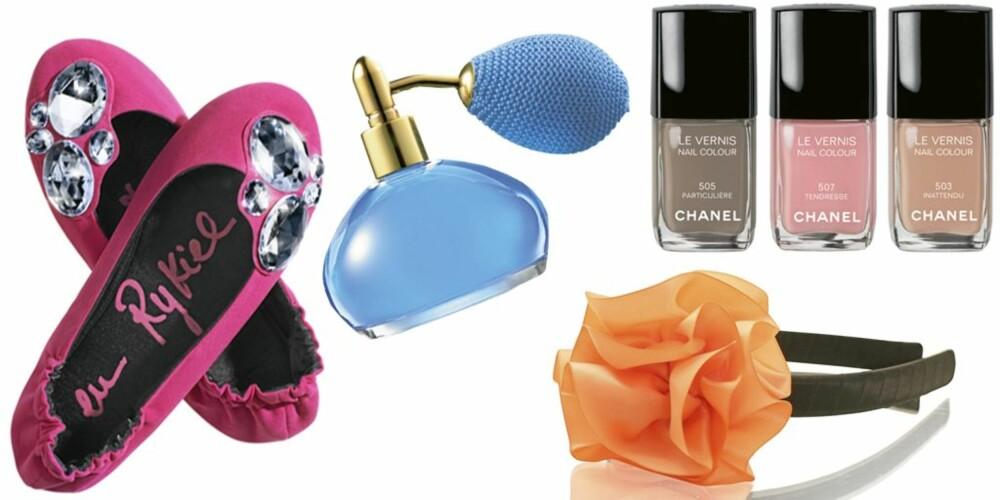 FRA VENSTRE: Tøffler fra Sonia Rykiel pour H&M (kr 249), Oriflame Miss O Fashion Princess eau de toilette (kr 249/50 ml), hårbøyle med rosett fra Friis & Co (kr 149), neglelakk fra Chanel (kr 195 pr. stk.).