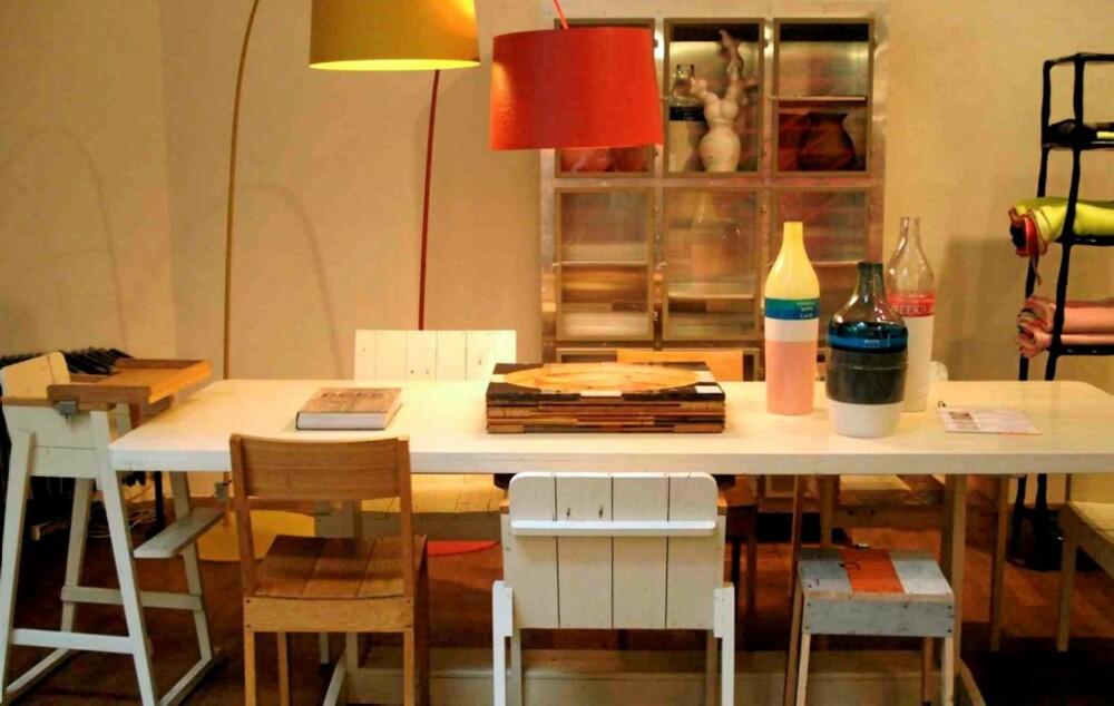 FROZEN FOUNTAIN: Piet Hein Eek lager spennende møbler av resirkulert treverk. Keramikk fra Hella Jongerius.