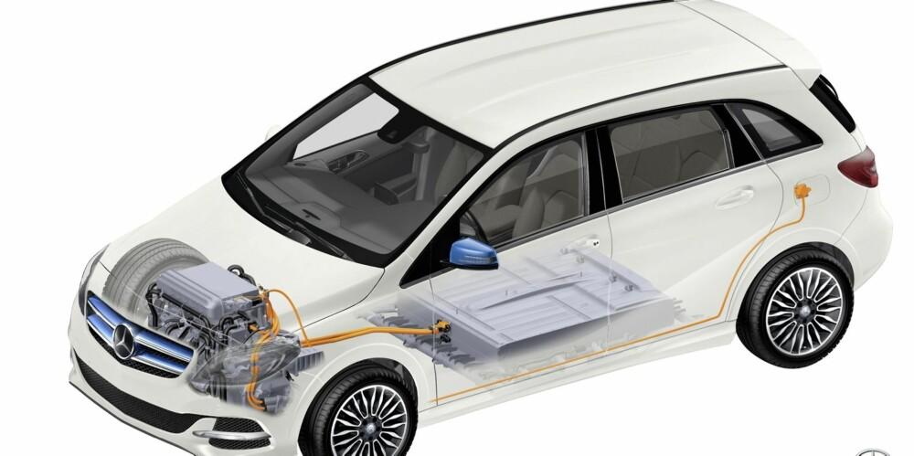 FRA TESLA: Motor og batteri kommer fra Tesla, som Mercedes inntil nylig eide aksjer i. Batteripakken ligger lavt og i midten av bilen. Batteriene er tunge og sender vekt med fører opp i 1,8 tonn. FOTO: Mercedes-Benz
