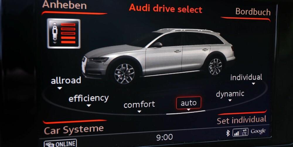 I MODUS: Audi A6 Allroad har kjøremodus som passer i alle sammenhenger, fra offroad, via komfort og auto til dynamisk. Og har du spesielle ønsker, kan du få det akkurat slik du vil ved å stille inn individuelle valg. Et av få minus: Norsk mangler som betjeningsspråk.