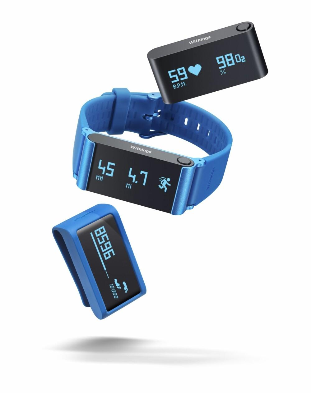 FLEKSIBEL: Pulse Ox fra Whitings er et fleksibelt aktivitetsarmbånd som kan brukes både som armbånd og som et klips i beltet.