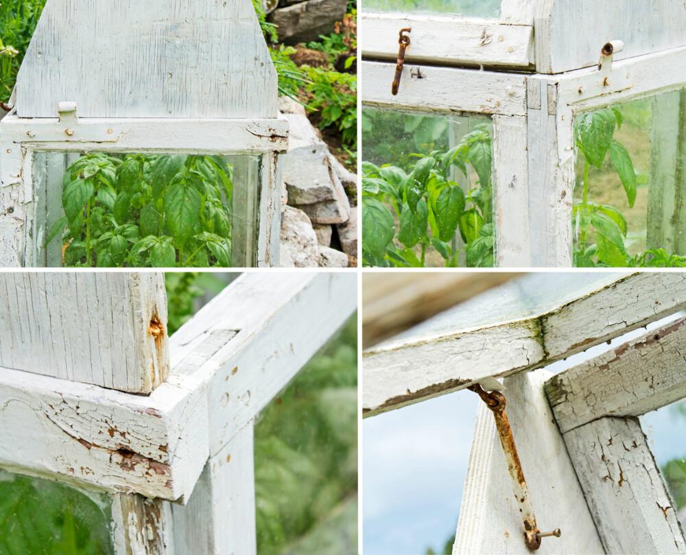 DRIVHUS: Øverst fra venstre: Gavlveggene er laget av ei finerplate som er festet til vinduene med noen skruer. I hjørnene er vinduene lagt kant i kant og skrudd sammen.  Nederst fra venstre: Her ser vi hvordan huset er festet sammen i hjørnene. Sprossen til enkeltvinduene på kortsidene er festet til vindusrammen på langsidene, og finerplata i gavlen er festet med en skrue på skrå ned i ramma. Det ene takvinduet er festet med skruer til gavlveggene i hver side. I tillegg er det festet til toppen av vindusfaget som danner den ene langveggen på huset. Takvinduet som kan åpnes er hengslet til det andre vinduet i toppen. Den gamle vinduhaspa holder taket åpent når det er behov for lufting.