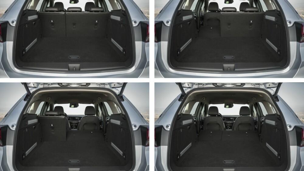 MER PLASS: Den nye generasjonen Sports Tourer har samme dimensjoner som dagens utgave, med en lengde på 470,2 cm, en bredde på 187,1 cm. Til tross for dette skal det være betydelig mer plass til både passasjerer og bagasje. Foran har det blitt 26 millimeter mer plass til hodet, mens i baksetet er plassen økt med 28 millimeter. I tillegg laster Astra Sports Tourer nå inntil 1630 liter bagasje, ifølge Opel. FOTO: Opel