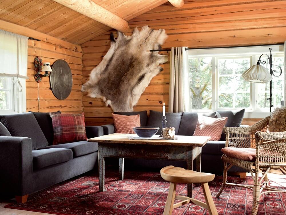 LUN HYTTEKOS: Dempede jordfarger er valgt til tømmeret i hovedhytta. Sofa fra Skeidar. Stålampen er et bruktkupp. Moren til Sidsel har sydd nytt trekk til lampeskjermen.