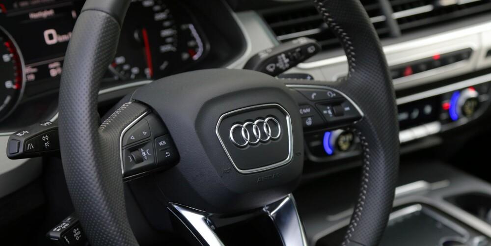 GJENNOMFØRT: Audi Q7 3,0 TDI kjennes kostbar i hver minste interiør- og utstyrsdetalj.