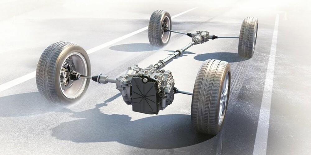 """AWD: Firehjulsdriften skapes i den lille """"boksen"""" bakerst. I den ligger clutchplater som presses sammen ved igangsetting og når bilens sensorer kjenner antydning til hjulspinn, og da får bakhjulene framdriftskraft. Ved vanlig kjøring på tørr asfalt er det forhjulene som driver Ford S-Max AWD."""