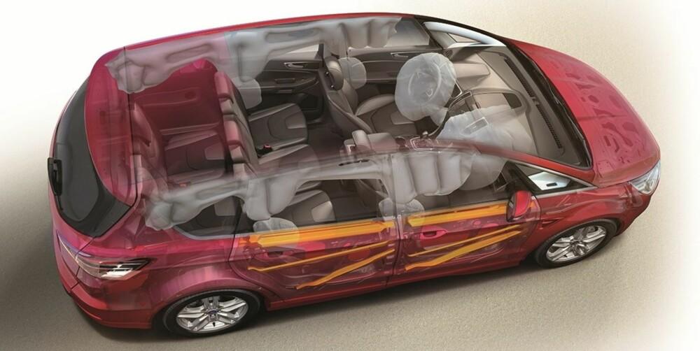 OPPBLÅST: Den innvendige bredden i Ford S-Max er gedigen - de færreste biler rommer tre barneseter i bredden på rad to like enkelt som familie-Forden. Her er alle tilgjengelige kollisjonsputer blåst opp.