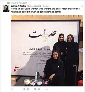 HYLLEST: Salma AlRashid postet en hyllest til medsøstrene som brukte stemmeretten.