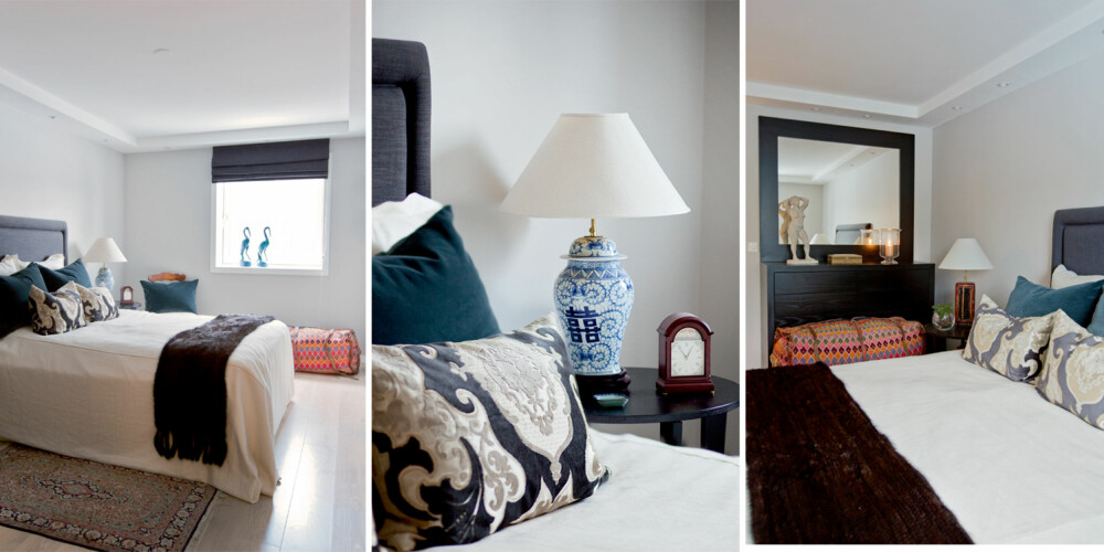 SOVEROM: I et av soverommene er alt fra sengegavl til sengekappe, sengeteppe, puter og liftgardin laget av tekstiler fra Designers Guild. Nattbordslampene er gamle klenodier, mens nattbordene er fra Ikea. Den store kelim-bagen har eier tatt med hjem fra en reise.
