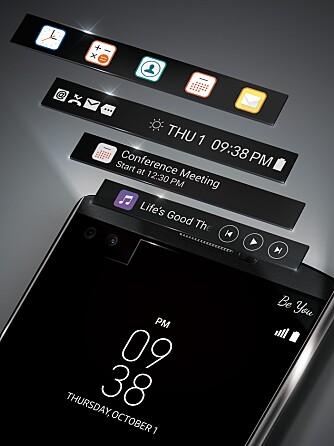INFOSKJERM: LG V10 har en ekstra skjerm øverst på 2,1 tommer og med en oppløsning på 160 x 1040 piksler.