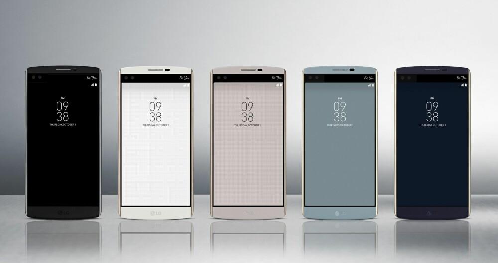 FARGER: LG V10 finnes i flere farger, men foreløpig har vi bare sett den sorte varianten i norske nettbutikker.