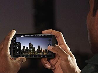 FULL KONTROLL: LG V10 lar deg få full kontroll over foto og videoopptakene. Her kan du fokusere manuelt mens du filmer, eller endre eksponering uten å stoppe opptaket.