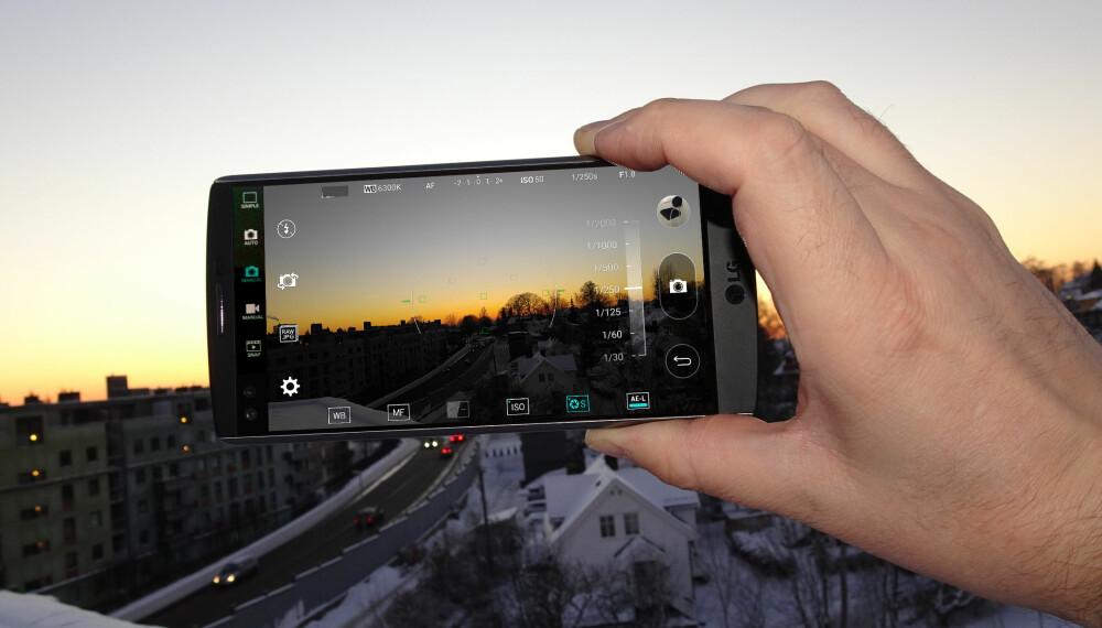 KAMERAMOBIL: LG V10 har et utmerket kamera om bord som blant annet lar deg fotografere i råformat, og styre eksponering og fokus manuelt både under fotografering og filming.