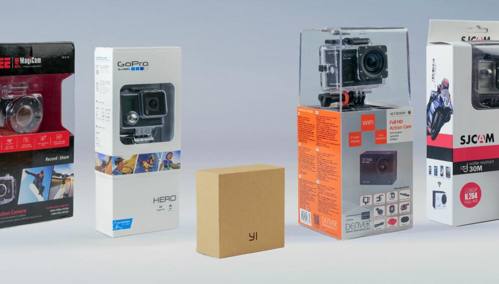 TESTSAMLING: Vi har testet fem billige action-kameraer.