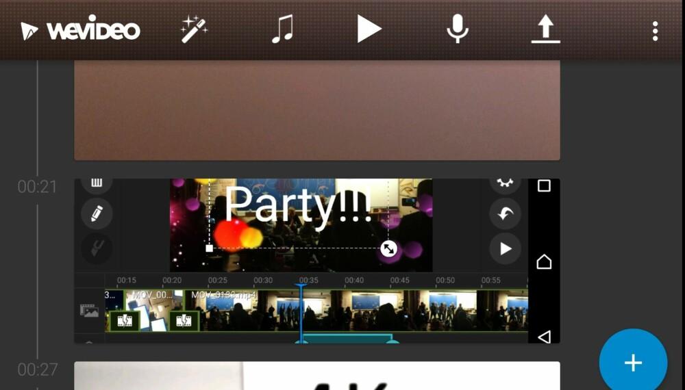 VERTIKAL: I WeVideo for Android jobber man med klippene sine i en vertikal tidslinje. Det fungerer faktisk overraskende bra.