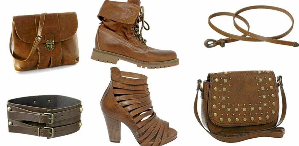 FRA VENSTRE: Brun veske fra La Redoute (kr 266), bredt belte fra Gina Tricot (kr 99), kraftige boots fra Bianco (kr 900) høye sandaler fra Bianco (kr 1100), smalt belte fra Gina Tricot (kr 79), veske med nagler fra Accessorize (kr 289).