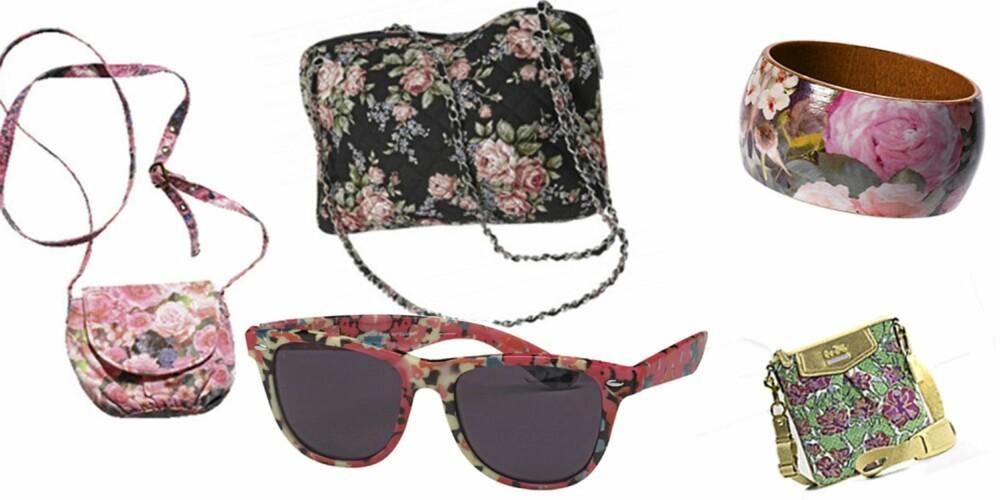 FRA VENSTRE: Rosa blomsterveske H&M (kr 65), sort blomsterveske Gina Tricot (kr 199), solbriller fra Gina Tricot (kr 48), blomstrete armbånd H&M (kr 49,50), grønnblomstrete veske fra Coach (kr 812).