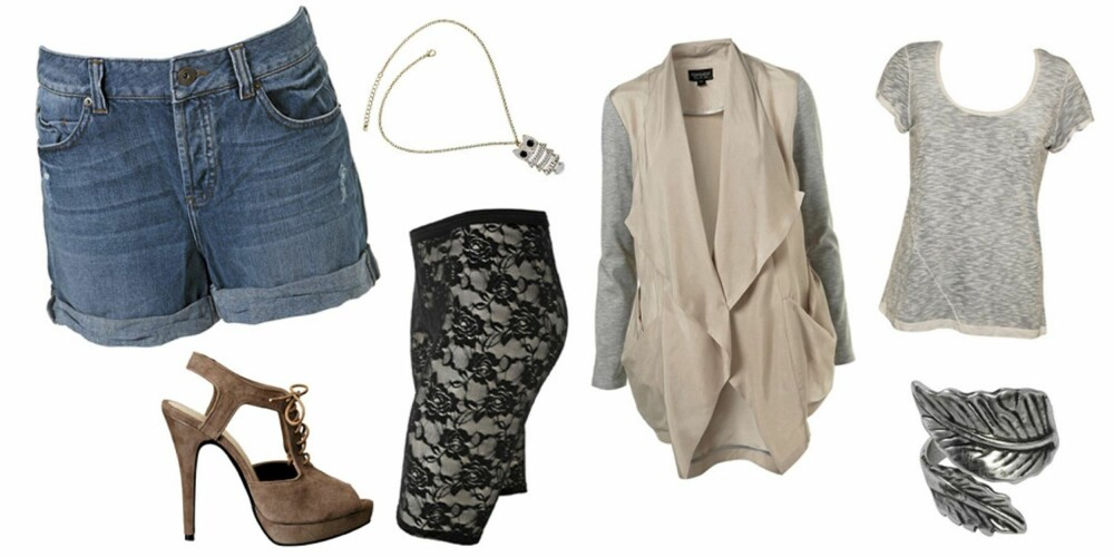 FRA VENSTRE: Denimshorts fra Topshop (kr 288), smykke fra Topshop (kr 76), sko fra H&M (kr 399), sykkelshorts fra Gina Tricot (kr 99), blazer fra Topshop (kr 575), T-skjorte fra Vila (kr 199), ring fra Bik Bok (kr 49).