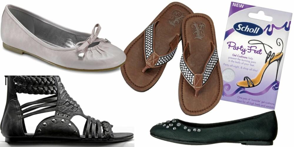 FRA VENSTRE: Sandaler fra Bianco (kr 450), ballerina fra Ecco (kr899), sandaler fra HogM (kr 79,50), ballerina fra Din Sko (kr 299), Scholl Party Feet (kr 89).