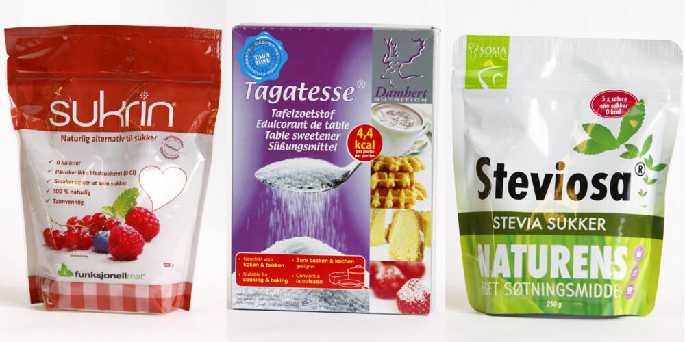 SUKKERALKOHOLER: Sukrin har en smak og et utseende som er svært lik sukker, men gir ingen blodsukkerstigning og kalorier. Siden svært lite av søtstoffet blir tatt opp i kroppen (kun 15-20 prosent) har tagatose liten påvirkning på blodsukkeret. Studier viser at tagatose også bidrar til å dempe den totale blodsukkerstigningen etter et måltid. Stevia er et intenst søtstoff, men påvirker ikke blodsukker eller insulinproduksjonen.