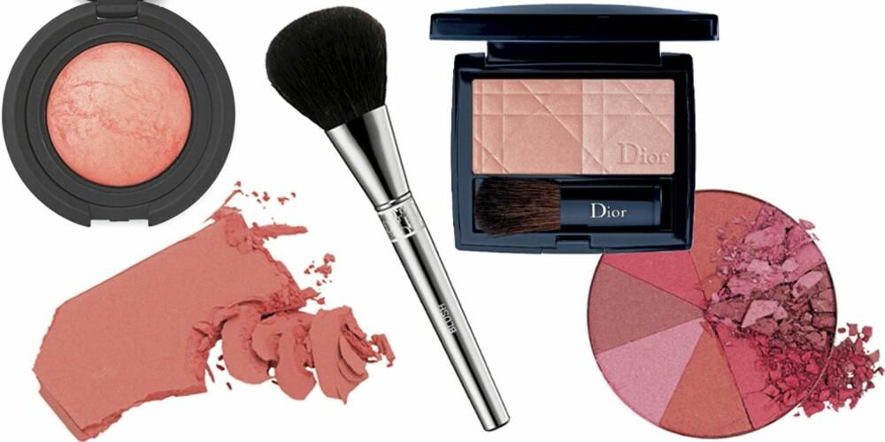 FRA VENSTRE: Nouba Blushon Bubble (kr 319), Shiseido Luminizing Satin face Colour nr. RD103 (kr 330), Dior Blush Brush (kr 345), Dior Glowing Color Powder Blush nr. 639 (kr 240), Gosh Mulitcolour Blush i fargen Pink Pie (kr 89).