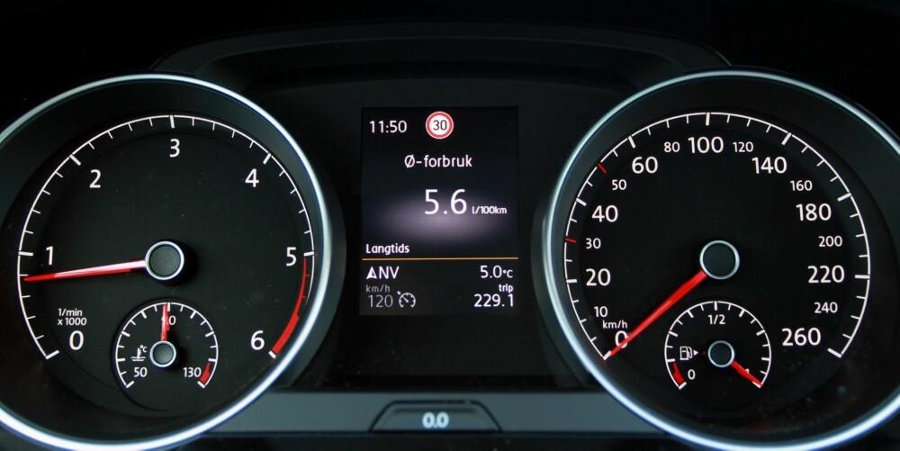 LAVT FORBRUK: Merforbruket med 4Motion er ikke skremmende. Med forhjulsdrift og samme motor målte vi forbruket til 0,54 l/mil, mens vi måtte opp på 0,57 l/mil med firehjulsdrift. Lavt, tatt bilens ytelser i betraktning.