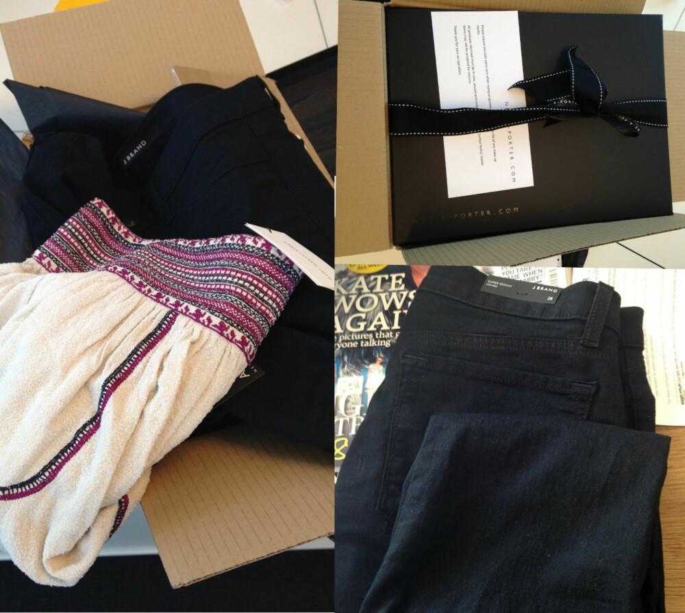FIN PAKKE: Varene kommer i en grå eske, men inne i den grå esken dukker det opp en nydelig, svart pakke med et elegant sløyfebånd.