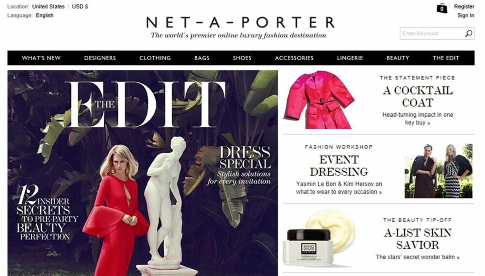 TEST AV NETTBUTIKKER: Test av Net-a-porter sin nettbutikk.
