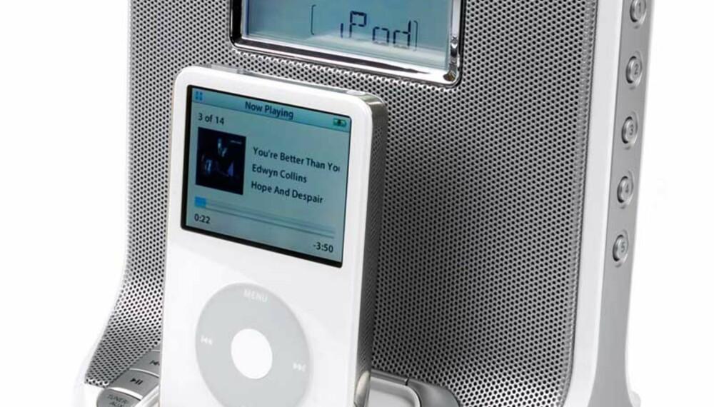 Her er iPod-anlegget som du også kan bruke som vekkerklokke.