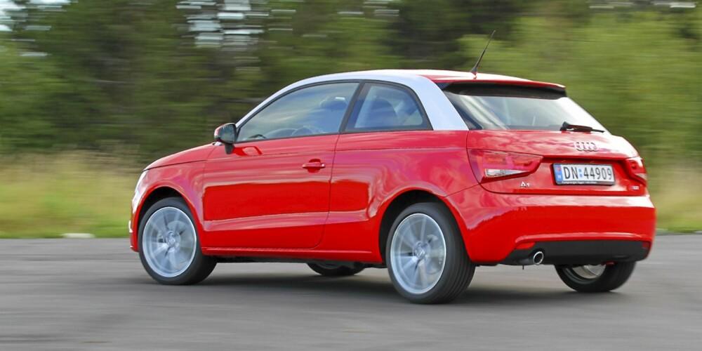 Audi A1 TDI kan leveres med tofarget lakkering, men det koster ekstra.