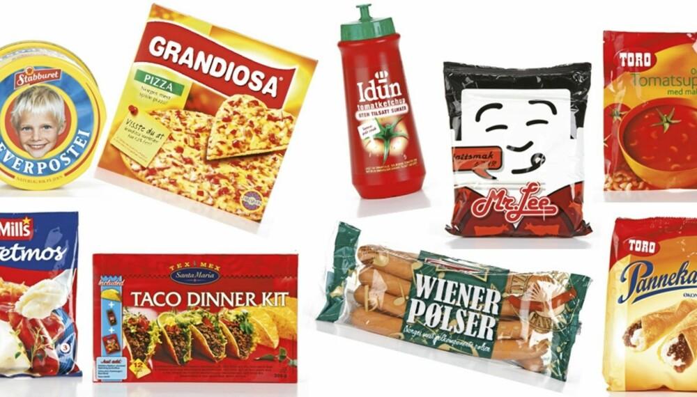 FERDIGMAT: Dette er eksempler på ferdigmat som ofte benyttes av norske småbarnsfamilier. Hva sier eksperten om næringsinnholdet i dem?